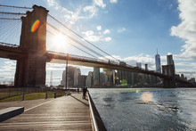 Brooklyn Bridge And Skyline Against Sky