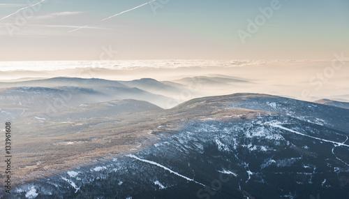 Fototapeta aerial view of the winter  time in  Karkonosze mountains in Pola obraz