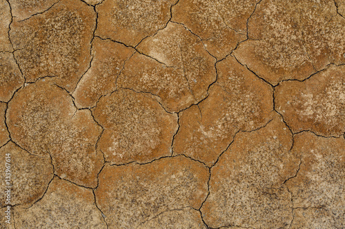 Overhead view of cracked land