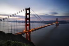 Golden Gate Bridge Over San Francisco Bay At Dusk