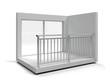 Aluminum frameless glass balustrade isolated. 3d rendering