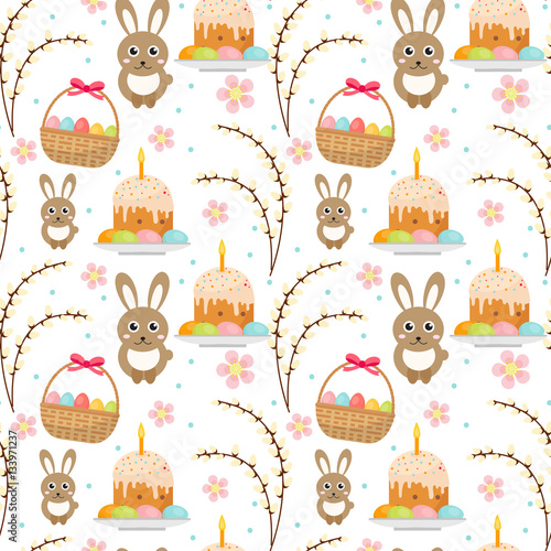 Cotton fabric Easter seamless pattern with rabbit, egg basket, cake, pussy willow. Endless Spring background, texture, digital paper. Vector illustration
