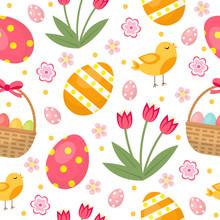 Cute Easter Seamless Pattern W...
