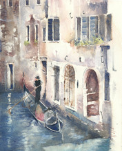 Venice Canal With Gondola Wate...