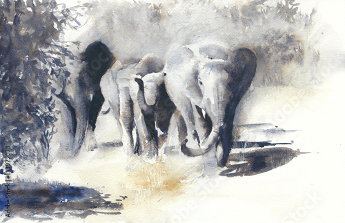 Słonie akwarela malarstwo afrykańskie safari