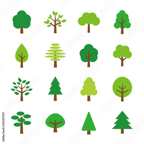 Tree icon set Fototapeta