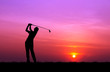 canvas print picture silhouette golfer playing golf during beautiful sunset