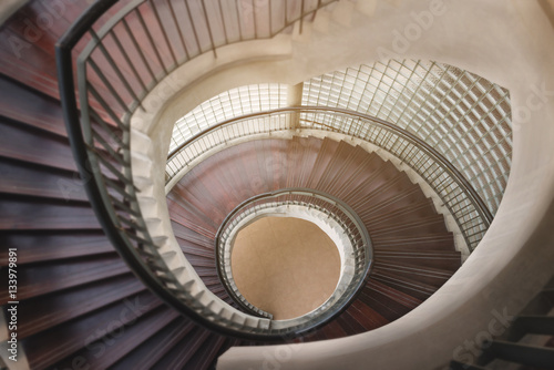 Fototapety, obrazy: spiral wooden staircase. Circular Staircase. decoration interior