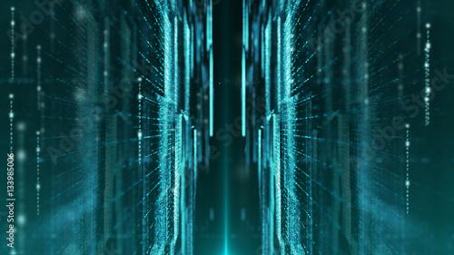 Fotografie, Obraz  Digital cyber world particles background