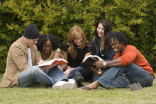 Diverse Group Of People Reading And Studying.