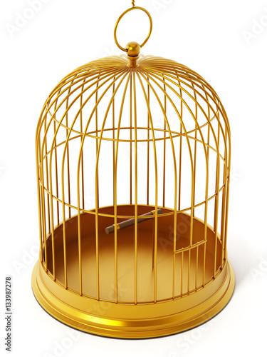 Fotografie, Obraz  Gold bird cage isolated on white background. 3D illustration