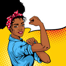 We Can Do It Poster. Pop Art Sexy Strong African Girl With Speech Bubble. American Symbol Of Female Power, Woman Rights, Protest, Feminism. Vector Bright Hand Drawn Background In Retro Comic Style.