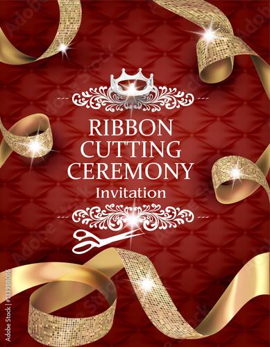 Fotografie, Obraz  Elegant vintage ribbon cutting ceremony card with silk textured curled gold ribb