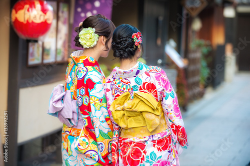 beautiful teenager young woman wearing japanese traditional Kimo Tablou Canvas