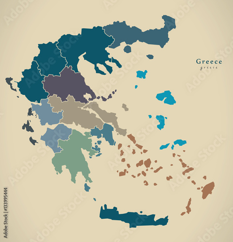 Modern Map - Greece with regions GR illustration Wallpaper Mural