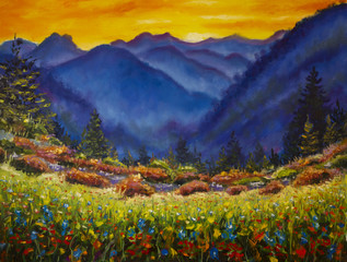 Plakat Original oil painting of flower meadow in the mountains on canvas. Modern Impressionism Art. Artwork.