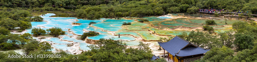 Fotografie, Obraz  Huanglong National Park, Sichuan, China, famous for its colorful pools formed by calcite deposits