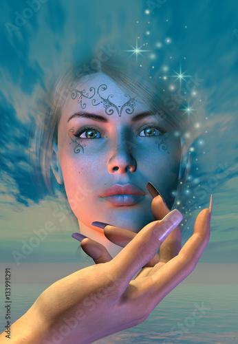 la mano di una strega crea un incantesimo evocando la bella regina delle amazzon Canvas-taulu