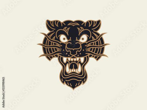 traditional old school tattoo. logo design template. tiger head ...