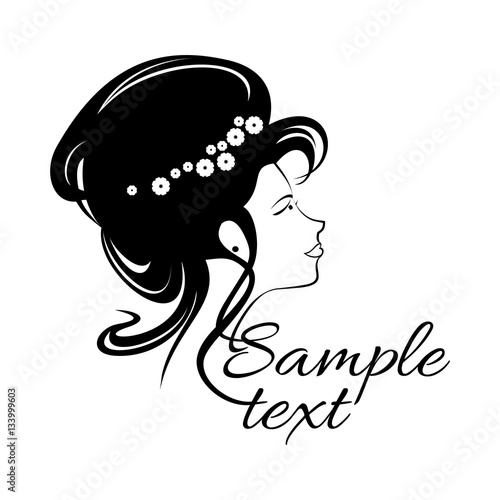 Beautiful Girl Logo For Beauty Salon Spa Salon Firm Or Company Abstract Young Woman S Face Silhouette In Profile Wedding Design Vector Illustration For Beauty Salon Woman Hair Style Silhouette Buy This
