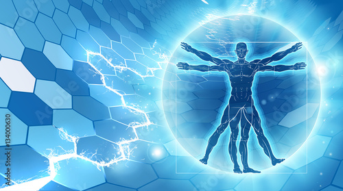Photo Vitruvian Man Hexagon Background