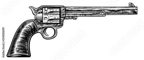 Obraz na plátně Pistol Gun Vintage Retro Woodcut Style