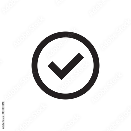 Tick sign black element  Gray checkmark icon isolated on