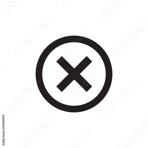 Cross Sign Black Element Gray X Icon Isolated On White Background