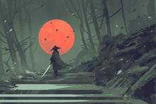 Samurai Standing On Stairway I...