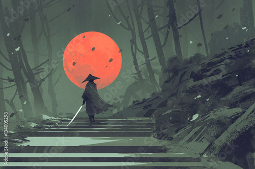 Samurai standing on stairway in night forest with the red moon on background,ill Canvas Print
