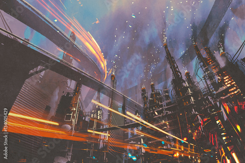Fototapeta sci-fi scenery of futuristic city with industrial buildings,illustration paintin