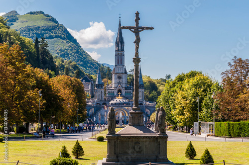 Photo Lourdes, Hautes-Pyrénées, Occitanie, France, lieu de pèlerinage.