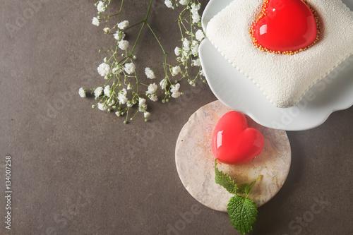 Foto op Plexiglas Chocolade Delightful, luxury mousse cake in the form heart. Valentine's Da