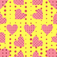 Seamless pattern with hearts and dots in a pop art style. Vector illustration