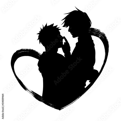Hand Drawn Illustration Of Hugging Couple Inside The Heart Shape Black Silhouette Isolated On White