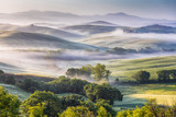 Hilly Tuscany valley at morning - 134014423
