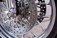 Harley Davidson / Nong Khai, Thailand January 18, 2017, Disc Brakes Front Wheel Of Harley Davidson's Shiny Reflective .