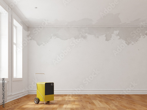 Fotografia, Obraz  Bautrockner in Raum mit Wasserschaden