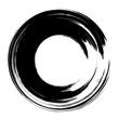 Grunge hand drawn black paintbrush circle. Curved brush stroke