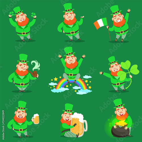Classic Leprechaun In Green Outfit Set Of Emoji Illustrations With