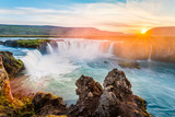 Fototapeta Sunset - Godafoss, amazing waterfall in Iceland
