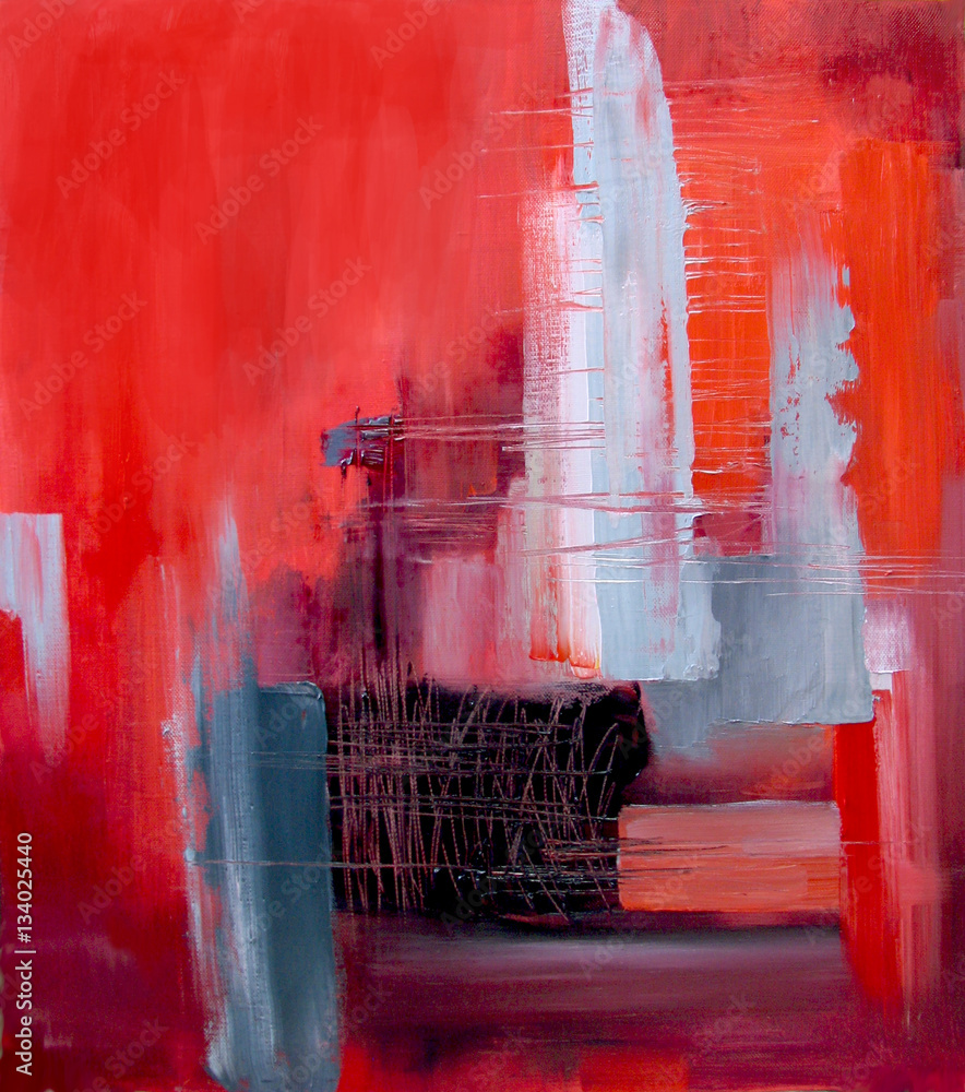 Abstract art in red and gray oil painting