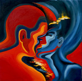 Kiss, abstract art in blue and red, oil painting on canvas - 134025456