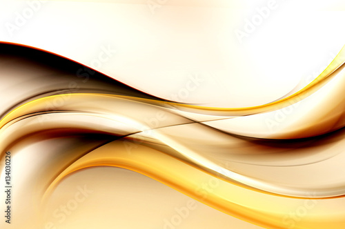 Staande foto Fractal waves Brown bright waves art. Blurred effect background. Abstract creative graphic design. Decorative fractal style.