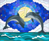 llustration in stained glass style with a pair of dolphins on the background of water ,cloud, starry sky and moon