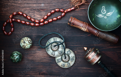 diverse ethnic objects for meditation and relaxation