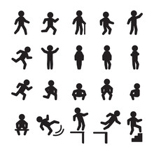 Person Actions Icon Set. Vector.