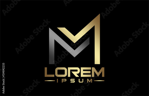 Photo  logo letter m in gold and metal color