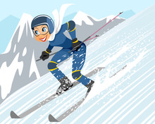 Girl Riding By Ski