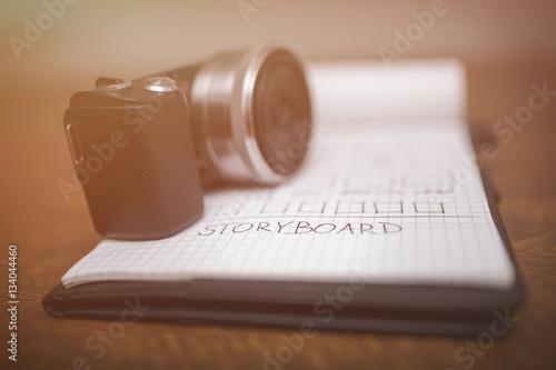 Fotografie, Obraz  Storyboard and camera in sepia